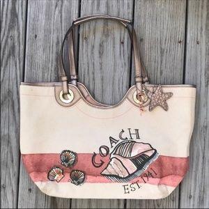COACH Coral Beach Seashell Tote Shoulder Bag~EUC!